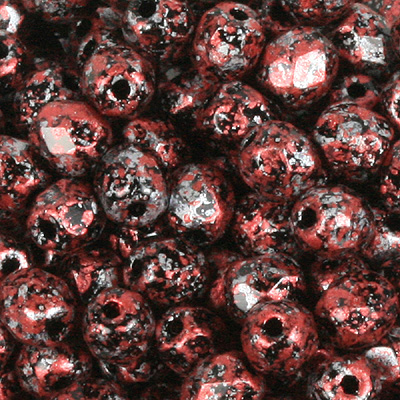 GBFP08-496 - Czech fire-polished beads - opaque tweedy red